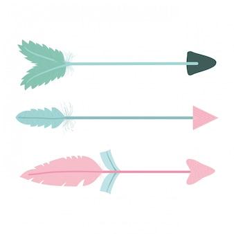 Flechas da boêmia com penas