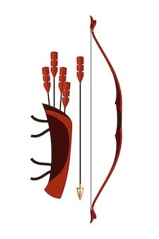 Flechas de aljava e arco isolados. armas de arco e flecha medievais antigas, batalha militar histórica ou caça de animais