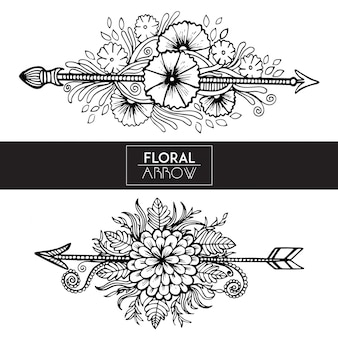 Flechas florais preto e branco desenhadas a mão