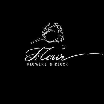Fleur - logotipo com rosa para flores e empresa de decoração.