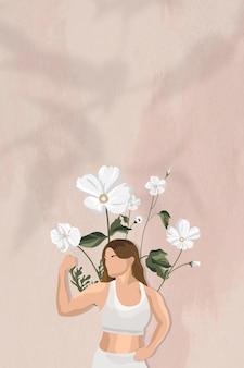 Flexionando músculos na fronteira de fundo vetorial com ilustração de mulher floral de ioga