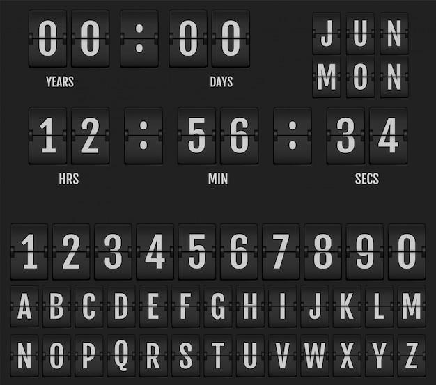 Flip calendário de relógio de mesa e temporizador.