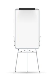 Flip chart em branco. flipchart de quadro branco em branco no tripé. quadro vazio de flip chart vertical. educação, apresentação de negócios e conceito de seminário