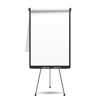 Flip chart em branco. quadro branco e papel vazio, apresentação e seminário,