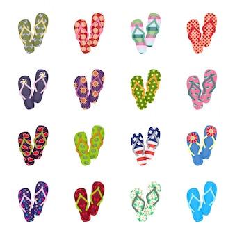 Flip flop cartoon definir ícone. chinelo de praia. desenhos animados isolados definir ícone flip flop.