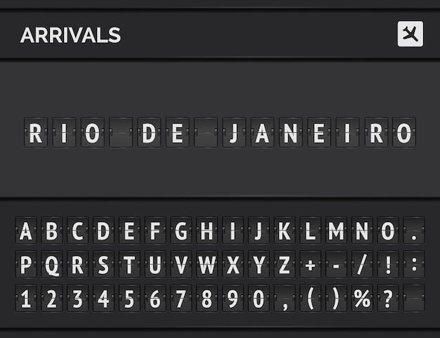 Flip scoreboard analógico do aeroporto com informações do voo de destino de chegada no brasil: rio de janeiro com placa do avião e fonte de voo.