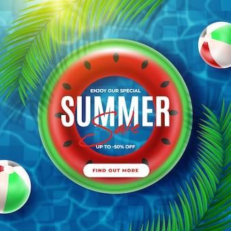 Floatie de venda realista de verão na água