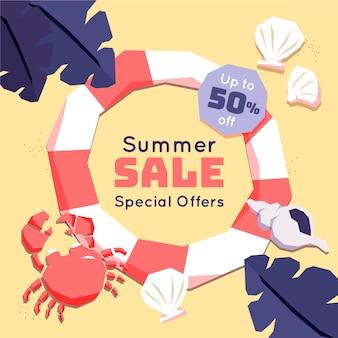 Floatie e caranguejo de venda de verão design plano