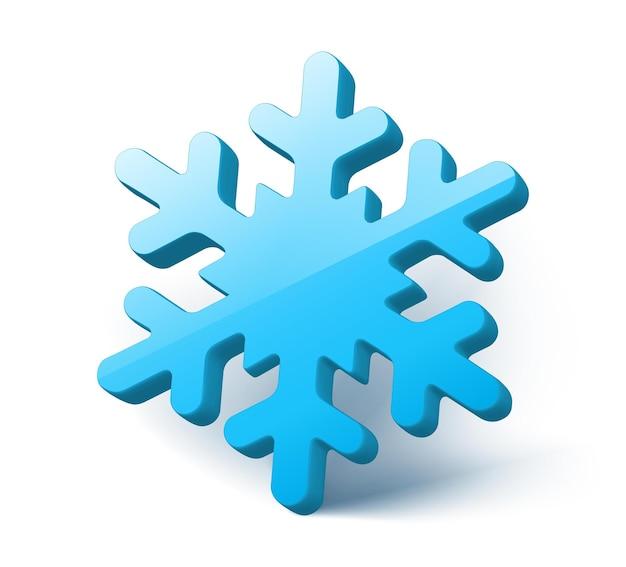 Floco de neve azul isolado no fundo branco