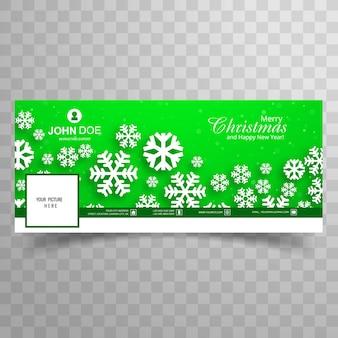 Floco de neve bonito feliz natal com fundo de modelo verde de banner do facebook
