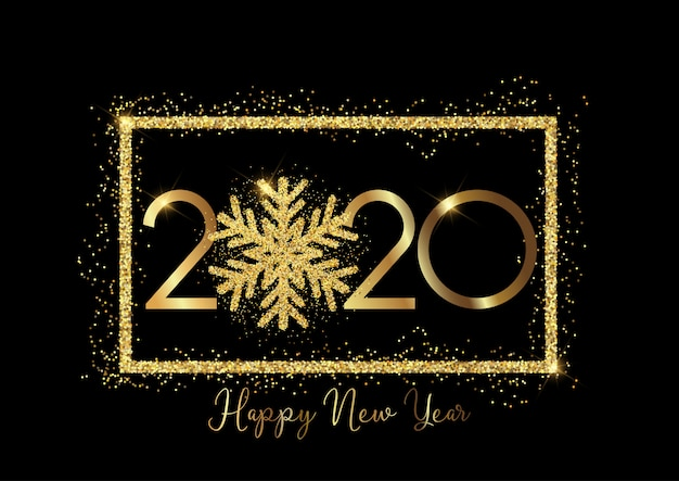 Floco de neve brilhante feliz ano novo fundo