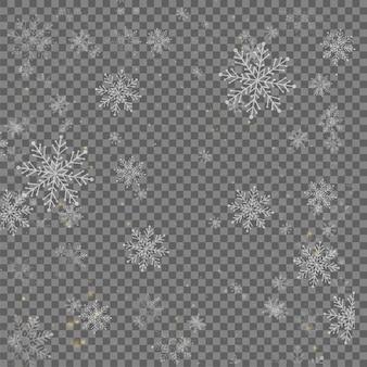 Floco de neve caindo isolado no fundo transparente