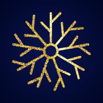 Floco de neve de glitter dourados sobre fundo azul escuro. elementos de decoração de natal e ano novo. ilustração vetorial.