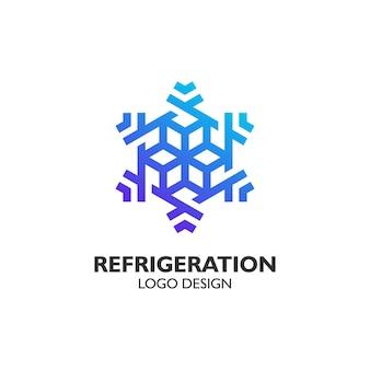 Floco de neve de luxo com estilo de arte de linha para design de logotipo de refrigeração