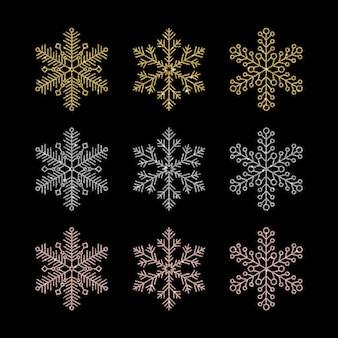 Floco de neve de ouro prata, amarelo e rosa com efeito glitter de luxo e brilhos brilhantes isolados no fundo preto. elemento de vetor glamoroso para o projeto de ano novo ou natal.
