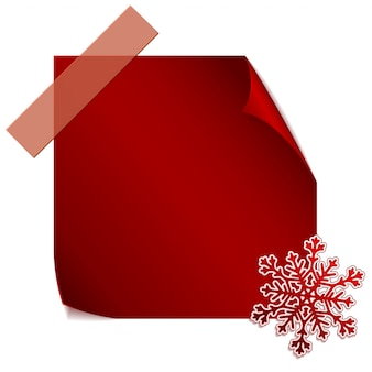 Floco de neve de papel vermelho sobre adesivo vermelho