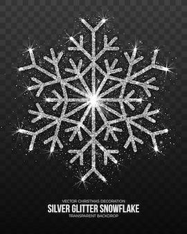 Floco de neve de prata de decoração de natal