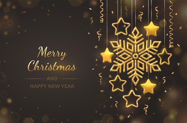 Floco de neve dourado brilhante de suspensão com estrelas metálicas 3d em fundo preto. cartão de natal