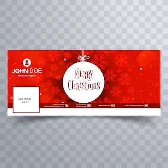 Floco de neve feliz natal com modelo de banner do facebook