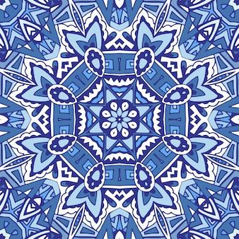 Floco de neve ornamental geométrico azul abstrato sem costura patterrn
