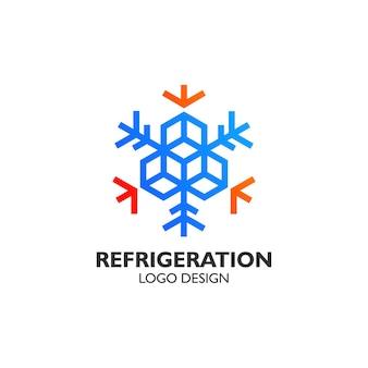 Floco de neve para design de logotipo de refrigeração
