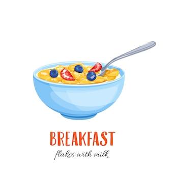 Flocos com leite e frutas.