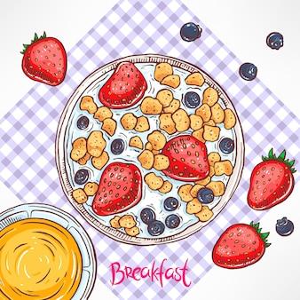 Flocos de milho com leite e frutas vermelhas