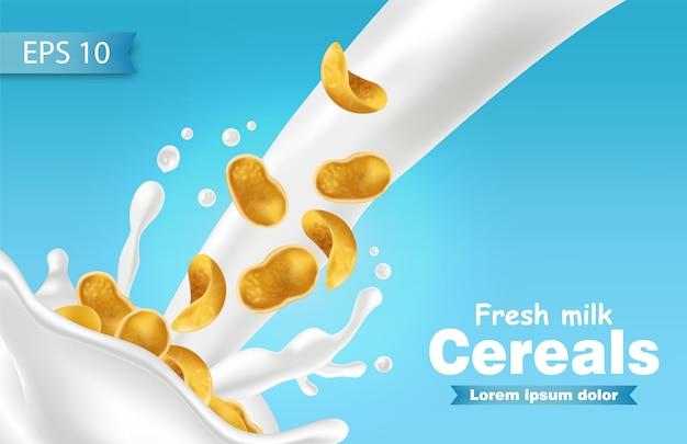 Flocos de milho em maquete de respingo de leite