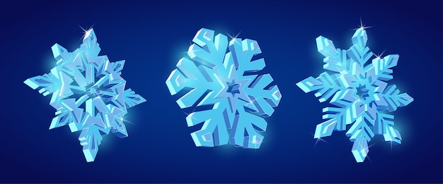 Flocos de neve 3d, conjunto decorativo de floco de neve, conjunto de flocos de neve brilhantes lindos.
