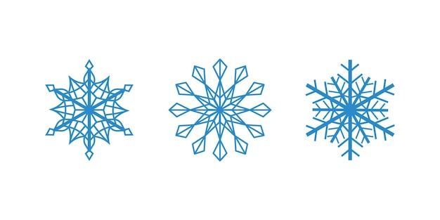 Flocos de neve azuis do vetor no fundo branco conjunto de flocos de contorno isolado