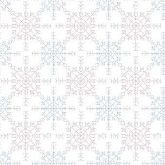 Flocos de neve azuis em um fundo branco feliz natal padrão geométrico sem emenda