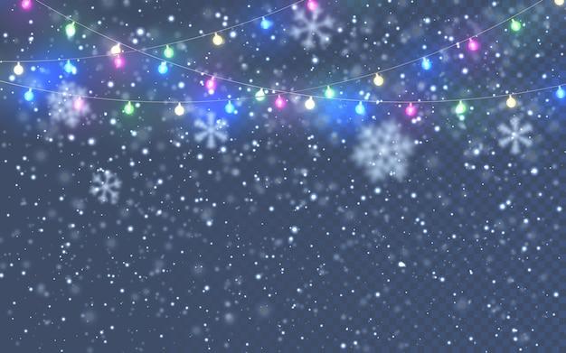 Flocos de neve brancos caindo em fundo escuro