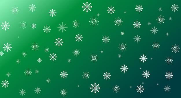 Flocos de neve brancos em modelo de fundo gradiente verde para cartão de natal