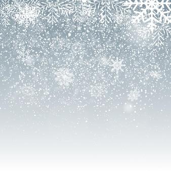 Flocos de neve brilhantes caindo e neve sobre fundo azul. plano de fundo natal, inverno e ano novo. ilustração vetorial realista para seu projeto eps10