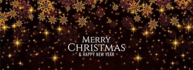 Flocos de neve brilhantes e banner decorativo de feliz natal