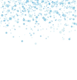 Flocos de neve caindo azul sobre fundo branco