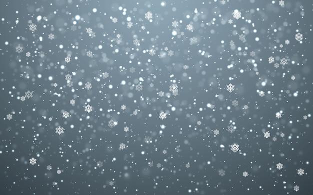 Flocos de neve caindo em fundo escuro