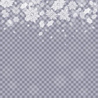Flocos de neve caindo em fundo transparente