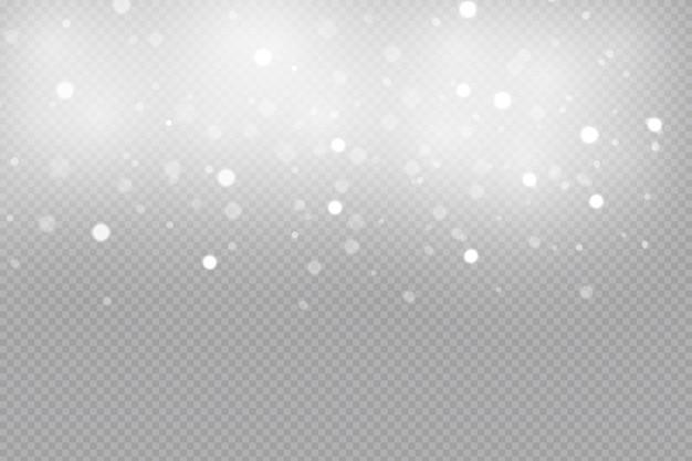 Flocos de neve caindo isolados. forte nevasca de vetor em diferentes formas e formas.