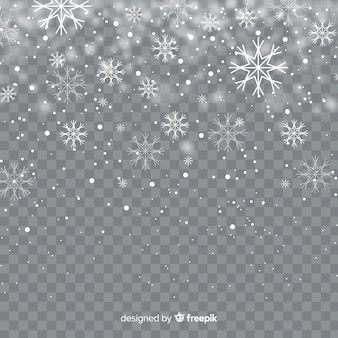 Flocos de neve caindo realista em plano de fundo transparente