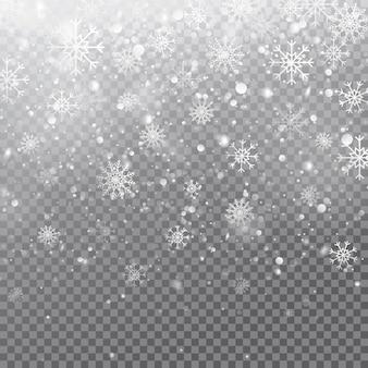 Flocos de neve caindo realistas