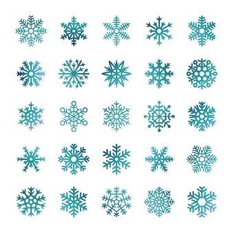 Flocos de neve coloridos isolados no fundo branco