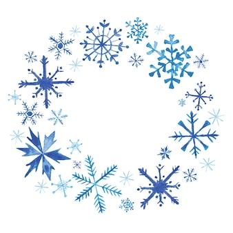 Flocos de neve com grinalda de natal de inverno