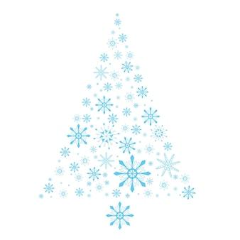 Flocos de neve da árvore da neve árvore de natal abstrata feita de elemento de decoração vetorial de flocos de neve azuis