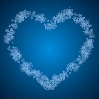 Flocos de neve de ano novo em fundo azul com brilhos. tema de inverno. flocos de neve de natal e ano novo caindo. para promoções de temporada, oferta especial, banners, cartões, convites para festas, flyer. neve branca e gelada