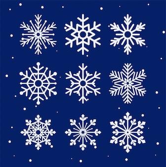 Flocos de neve de inverno temporada vector design conjunto de ícones