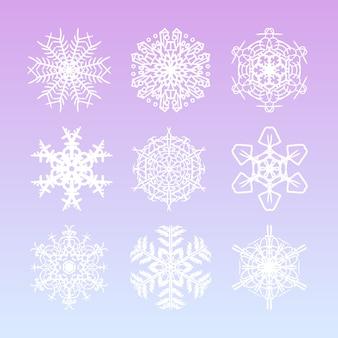 Flocos de neve de natal conjunto com estrelas de neve desenhada mão bonita e filigrana complicada para enfeites de férias