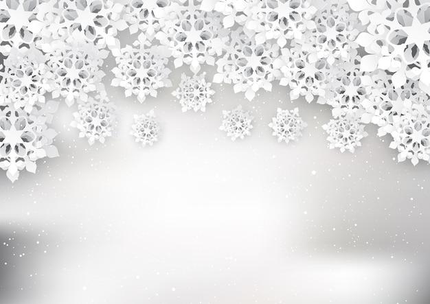 Flocos de neve de natal cortados em papel