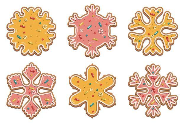 Flocos de neve de natal de gengibre com esmalte multicolorido delicado. para a concepção de cartões, folhetos. ilustração vetorial isolada no fundo branco.