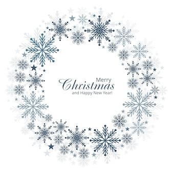 Flocos de neve de natal e ano novo cartão de fundo vector